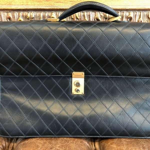 Chanel Vintange Bag Mens Briefcase Black Leather